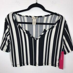 Sho Sho Referee Black White Stripe Crop Top